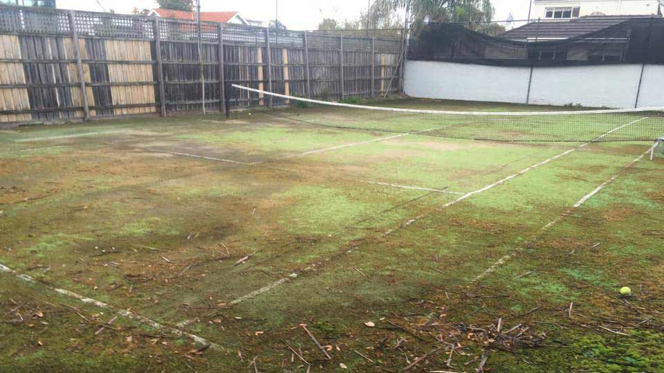 Before Tennis Court Resurfacing